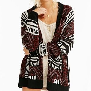 Ecote Patterned Intarsia Open-Front Cardigan (0406